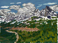 My Travel Paintings - Washington Pass Okanogan-Wenatchee National Forest (thor_mark ) Tags: azimuth181 bluelakepeak blueskies bluesskieswithclouds cascaderange concordtower cornicepeak curveinhighway curveinroad day8 drivetowashingtonpassoverlook earlywinterspire earlywinterspires evergreentrees evergreens hillsideoftrees landscape lexingtontower libertybellmountain lookingsouth methowmountains mountainpeak mountains mountainsindistance mountainsoffindistance mountainside nature northcascades northcascadesnationalparkservicecomplex okanogannationalforest okanoganwenatcheenationalforest outside pacificranges partlycloudy picapeak ridgeline snowonfaroffmountainpeaks snowcapped southearlywinterspire southwashingtonpass sunny talltrees theminuteman trees triptonorthcascadesandwashington washingtonpass washingtonpassobservationsite washingtonpassoverlook digitalpainting adobedraw adobeillustratordraw ipad artdigital ipadprodrawing applepencil washington unitedstates