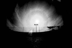 [ a portal opening ] (ǝlɐǝq ˙M ʍǝɥʇʇɐW) Tags: 35mm film bw mistertrona texas signs analog solar sky lensflare oneway sign lordrayleigh attenuation g2v sun shootingatthesun analogue blackandwhite