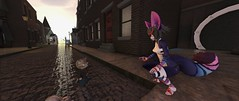 Talking to Nonny (OwltheCaped) Tags: nonny londonvillage street cat kemono secondlife