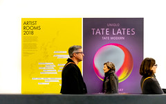 Laters (DobingDesign) Tags: people tatemodern posters three timing visitors gallery candid colour yellow advertisements text london artgallery city culture adverts