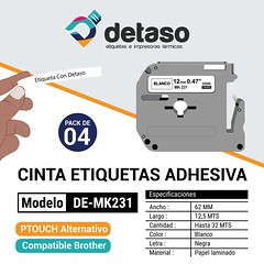 Pack 4 cintas MK231 12mm alternativa (Detaso) Tags: chile brother cinta etiqueta rotuladora etiquetas tze251 tze241 tze231 tze221 tze261 tze 12mm mk231