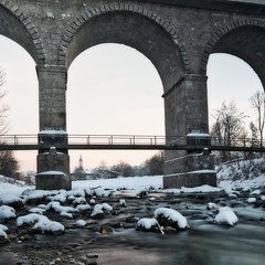 Traunstein Viadukt im Winter