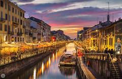 Navigli [IT] (ta92310) Tags: travel europe italie italia italy lombardia lombardie milan milano winter 2019 bluehour longexposure canal navigli sunset naviglio grande canali