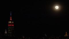 The Super Snow Moon rises next to the Empire State Building on Feb. 19, 2019. (apardavila) Tags: esb empirestatebuilding hoboken manhattan nyc newyorkcity supersnowmoon moon moonphoto moonphotography night nightphoto nightphotography nightsky skyline skyscraper supermoon