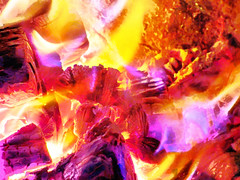 Hot, Hot, Hot (Steve Taylor (Photography)) Tags: digitalart mauve white yellow red orange wood newzealand nz southisland canterbury christchurch log glow embers fire flame heat hot