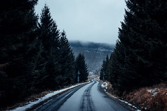 Brockenstraße bei Regen und Nebel (Gruenewiese86) Tags: 2018 harz hütte november sony a6500 wald forest forestscape fog nebel angst tod tot geheimnisvoll mystisch mystical germany holz baum himmel landstrase
