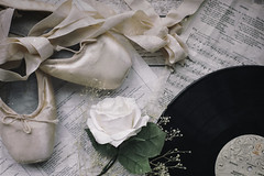 7/30: I could have danced all night... (judi may) Tags: april2019amonthin30pictures balletshoes pointeshoes vinyl record rose ribbons music flower stilllife tabletopphotography flatlay texture pink canon5d 50mm