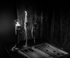 Twin flames and the end game (noel_milner) Tags: blacknwhite candles dublin ireland game spooky moody