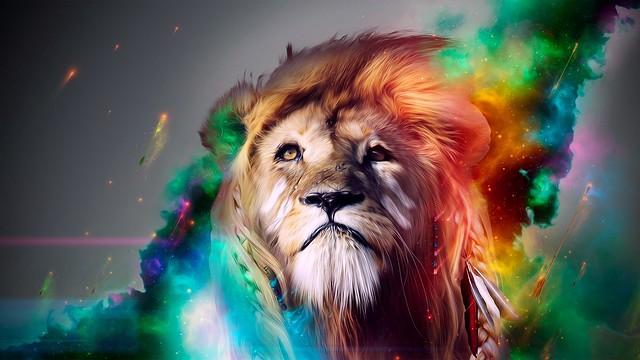 Обои лев, большая кошка, морда, дым, разноцветный картинки на рабочий стол, фото скачать бесплатно