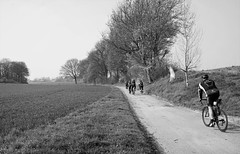 Jump!! (peer.heesterbeek) Tags: cycling monochrome field limburg netherlands trees people