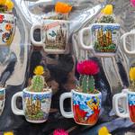 Blühende Kakteen in Souvenir-Tassen mit Abbildungen von Sehenswürdigkeiten aus Barcelona in der La Boqueria in Spanien thumbnail