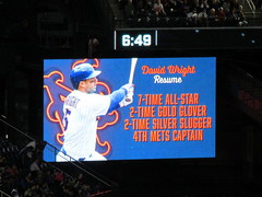 Citi Field, 09/29/18 (NYM v MIA, David Wright's final game): video board graphic - David Wright is a 7-time all-star, 2-time gold glover, 2-time silver slugger, and the fourth captain of the Mets (IMG_3931a) (Gary Dunaier) Tags: baseball stadiums stadia ballparks mets newyorkmets flushing queens newyorkcity queenscounty queensboro queensborough citifield