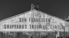 SF STC (davetherrienphoto) Tags: 71 training workshop ledal lighting window pier center california abandoned sanfrancisco rusty bw corrugated ladder iron shipyard