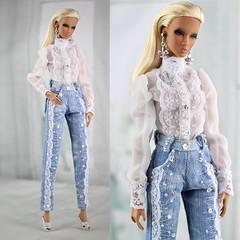 Nu Face  Lilith Afterglow (Regina&Galiana) Tags: fashionroyalty fashion fashiondoll doll outfit ooak forsale denim nuface nadja lilith