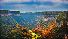FRANCE - Fall colors in Jura (Jacques Rollet (very little available)) Tags: france landscape paysage forêt fallcolors automne jura falaise cliff mountain autumn