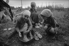 Girls wash their feet after working in the garden (misha maslennikov) Tags: bw film f3 nikon maslennikov poteryaevka altai otherrussia russia
