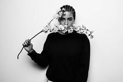 Flower for me (Chiara Schirripa_) Tags: portrait flower studio canon model basic minimal blackandwhite
