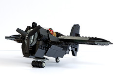 BR-1 Pint of Stout, front, grounded (Ron and Co. Bricks) Tags: lego build bricks toy play afol moc myowncreation custom minifigure aeroplane aircraft airplane plane propeller fantasy steampunk