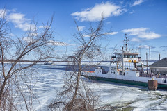 Waiting for the Quinte Loyalist (gabi-h) Tags: glenora ferry quinteloyalist adolphustown princeedwardcounty gabih winter clouds water bayofquinte ice trees branches white blue paththroughtheice