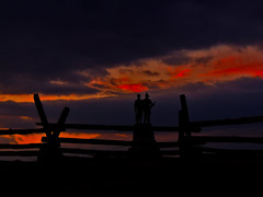 Fourth Excelsior at Sunset (George Neat) Tags: excelsior field fourth 2nd fire zouaves 73rd new york silhouette sunset fence colors gettysburg american civilwar adams county pa pennsylvania union confederate north south unitedstates america army potomac northern virginia history landscape scenic scenery historical battlefield national park monument memorial statue july 1 2 3 1863 george neat patriot portraits usa csa neatroadtrips outside