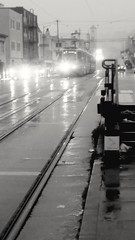 (sftrajan) Tags: muni streetcar tram rain march 2019 lluvia pluie regen afternoon thesunset njudah judahstreet 19thavenue sanfrancisco blackandwhite