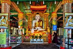 Two monchs and Buddha (gerard eder) Tags: world travel reise viajes asia southeastasia myanmar burma birmania birma pagoda sacral sacralbuilding buddha buddhism skulptur sagaing soonuponyashin monchs happyplanet asiafavorites