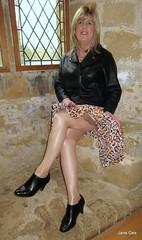Love is in Alcove (janegeetgirl2) Tags: transvestite crossdresser crossdressing tgirl tv ts trans jane gee black ankle boots biker jacket battle hastings 1066 leopard dress animal