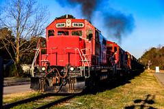 Idle to 8 (BravoDelta1999) Tags: carolina coastal clna railroad norfolk southern ns railway north emd gp9r 4630 gp9rm 4012 4628 manifest train 119 farmville