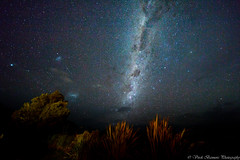 Milky Way with Large & Small Magellanic Clouds (myshutterworld) Tags: otago canterbury newzealand west coast franz josef fox glacier south island milky way astrophotography dslr large small magellanic clouds snowcapped mountains moonlit moonlight panorama mosaic bow longexposure nightscape