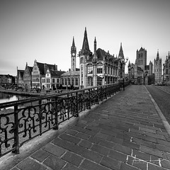 Medieval Ghent II (Alec Lux) Tags: bw bnw architecture belgie belgium blackandwhite building buildings city cityscape exterior facade gent ghent haida haidafilters longexposure outdoor outside skyline urban white black