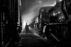 Amongst Giants (photofitzp) Tags: bw blackandwhite didcot gwr locomotives nightphotography steam timelinephotocharters uksteam