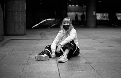 Osaka Street (Andrew Allan Jpn) Tags: street streetportrait streetfashion streetphotography streetstyle blackandwhite monochrome mono travel japan japanesegirl osaka dancer mask happyplanet asiafavorites