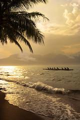 Rowing (Cristian Malevic) Tags: 2470 beach boat brasil brazil clouds d810 daylight luzdodia nikon nuvens ocean oceano ondas palmtrees praia sky sol sun water waves canoa mountains palmeiras água