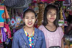Souvenir sellers at Kyaiktiyo Pagoda, Myanmar (Daddi Andrea) Tags: myanmar burma burmese birmania asia southeastasia asian asean travel street streetphotography tourism portrait stall girls teen kyaiktiyo pagoda people