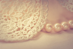 Lace and pearls (Ro Cafe) Tags: cloth mm macro macromondays nikkor105mmf28 sonya7iii textile feminine lace necklace pearls pastelcolours softfocus