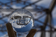 Lensball Duthill Bridge (Wm T Henry) Tags: abstract architecture background beautiful blurredbackground bridge crystalball glass landmark lensball lensballs reflection reflective road round sphere structure upsidedown rural