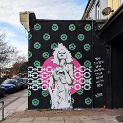 We forge the chains that bind us in life (id-iom) Tags: graffiti wall paint stencil art mural soloshow playdead playdeadgallery southsea portsmouth wallpaper chains lady woman girl quote text contemporaryart contemporary urbanart urban street streetart modern modernart