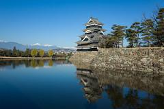 matsumoto castle (peaceblaster9) Tags: castle mountains reflection matsumoto nagano japan travel moat architecture ricoh gr 松本 松本城 城 飛騨山脈 長野