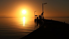 The Jetty at Sunrise, Milang, South Australia (Red Nomad OZ) Tags: milang lakealexandrina water morning light lake australia southaustralia sunrise reflection jetty pier sun sunlight sky colour fleurieupeninsula beautyofwater saariysqualitypictures caviardreams