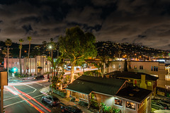 Long Exposure Light Trails Near The Rooftop Lounge (SCSQ4) Tags: california californiacenterfordigitalarts dinner favorite favoritepicture lagunabeach lighttrails longexposure rooftoplounge street streetview