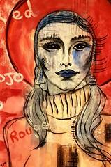 Chapeau Rouge (franck.sastre) Tags: art painting picture femme yeux ojos rouge red rojo pintura arte estilo fashion labios lips levres