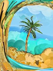 """Loose Palm"" (donnacoburn1) Tags: brushes apple apps pencil mobileartist artistic procreate artrage original creative safe pubic painting tropics colours donnacoburn ipadart mobileart expressionism spontaneous art"