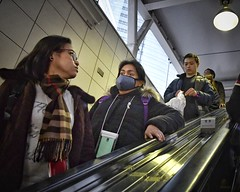 to the subway (gro57074@bigpond.net.au) Tags: stphotographia commuter commuters f50 panic anxiety daunting tothesubway tamron 2470mmf28 d850 nikon subwaystation trainstation candidphotography candidstreet candid streetphotography japan 2019 february color colour people escalator guyclift