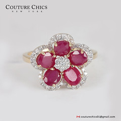 Genuine Pave Diamond Gemstone Ruby Floral Shaped Ring Solid 14k Yellow Gold Wedding Jewelry Women's Day Gift (couturechics.facebook1) Tags: genuine pave diamond gemstone ruby floral shaped ring solid 14k yellow gold wedding jewelry womens day gift