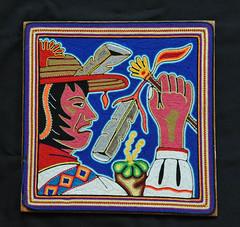 Huichol Yarn Painting Jalisco Mexico (Teyacapan) Tags: huichol wixarika yarnpainting jalisco mexican artesanias crafts shaman