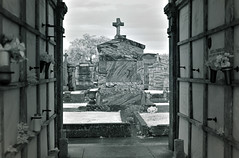 New Orleans Metairie Cemetery (Infrared) (dr_marvel) Tags: nola neworleans cemetery metairie metairiecemetery graves tombs cross ir infrared blackandwhite gray mausoleum marble stone christian