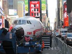 2019 Celebration of Retro TWA Hotel - Wingless Plane Times Square 4515 (Brechtbug) Tags: 2019 celebration retro twa hotel brooklyn wingless 1958 lockheed constellation connie l1649a starliner airplane visits times square before heading trans world airlines new yorks john f kennedy international airport known york anderson field commonly idlewild city march 23rd nyc 02232019