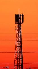 Sunset of Steel (feldweg2008) Tags: sunset sonnenuntergang gittermast red orange himmel latticeclimbing sendemast awesome steeltower turm industrie