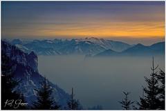 Abend am Grünberg (Karl Glinsner) Tags: landschaft landscape österreich austria oberösterreich upperaustria outdoors winter schnee snow trees bäume grünberg gmunden berge mountains nebel mist abend evening