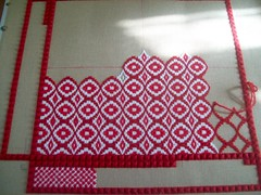coming along nicely (Martha-Ann48) Tags: kneeler cushion tapestry red white stitches pattern embroidery rhodes